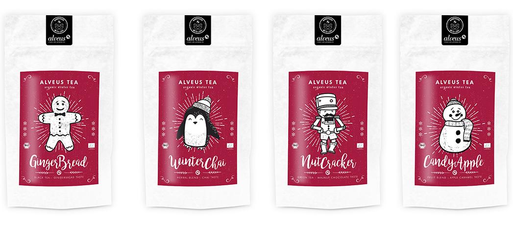 Grüner Tee, Schwarzer Tee, Früchtetee und Chai Tee in der 100g Tüte, WinterTea BIO von alveus®