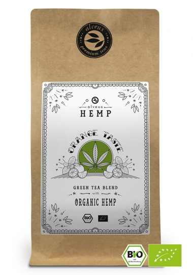Orange Taste Hemp BIO Hanf Tee in der 100g Tüte von alveus® bei tee-design.eu im Online-Shop kaufen.