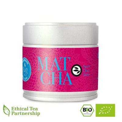 Matcha Tee in der Dose, SPICY CHAI TASTE Matcha Blend ORGANIC BIO von alveus® Rarities bei tee-design.eu im Online-Shop kaufen.